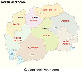 carte, nord, politique, macédoine, vecteur, administratif