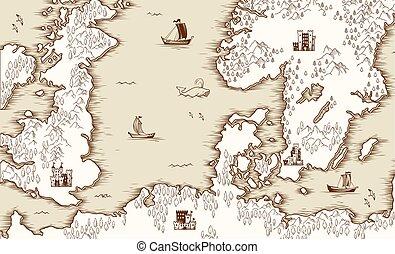 carte, nord, scandinavie, illustration, grande-bretagne, vecteur, mer, vieux
