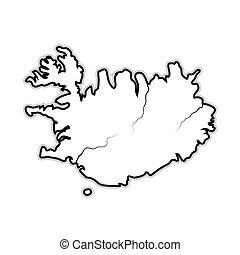 carte, nord, scandinavie, islande, chart., atlantique, ocean...
