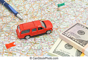carte, notes, stylo, voiture, rouges