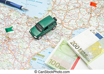 carte, notes, stylo, voiture verte