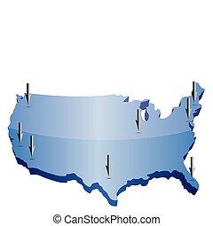 carte, nous, pointage, emplacements