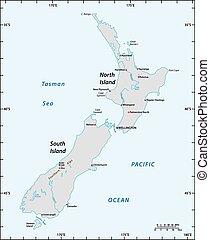 carte, nouveau, longitude, simple, latitude, degrés, zélande
