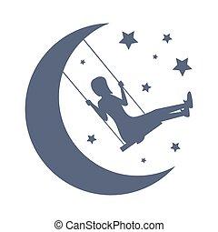 carte, nuit, stars., girl, template., vecteur, doux, silhouette, bon, lune, oscillation, rêves