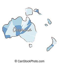 carte, océanie, isolé