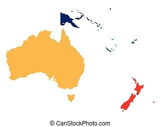 carte, océanie, politique