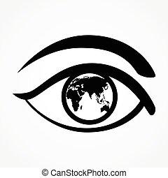 carte, oeil, mondiale