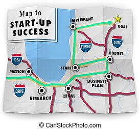 carte, offrande, reussite, commencer, start-up, ton, ...