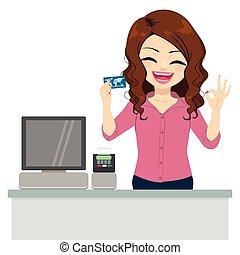 carte, ok, crédit, commis