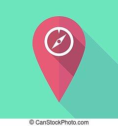 carte, ombre, compas, long, marque