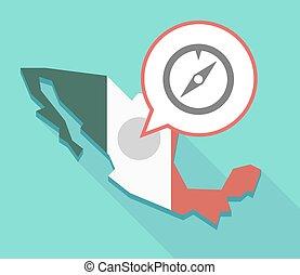 carte, ombre, compas, long, mexique
