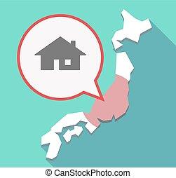 carte, ombre, japon, long, maison