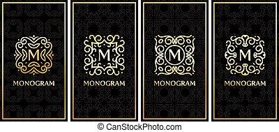 carte, or, business, gabarits, noir, monogram, fond