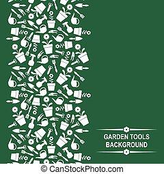 carte, outils, vert, jardin, fond