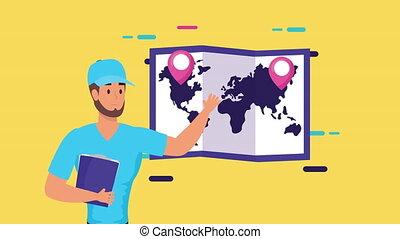 carte, ouvrier, service, papier, liste contrôle, logistique