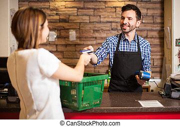 carte, paiement, caissier, crédit, réception