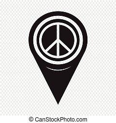 carte, paix, indicateur, signe, icône