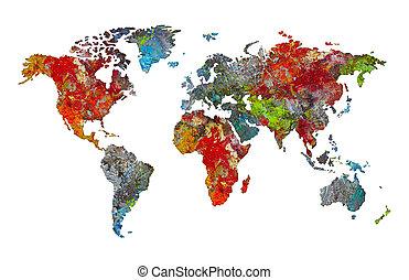 carte, palette, silhouette, mondiale, artiste