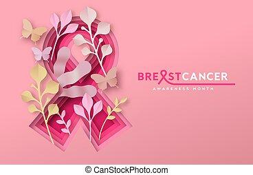 carte, papercut, ruban, poitrine, nature, mois, cancer