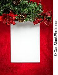 carte papier, noël, blanc rouge