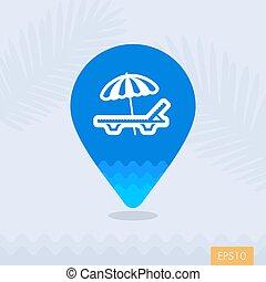 carte, parapluie, épingle, salon, chaise, plage, icône