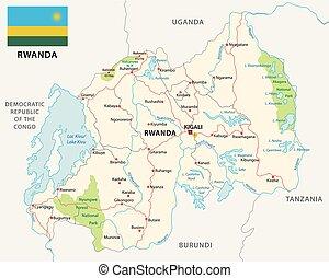 carte, parc national, drapeau, rwanda, route