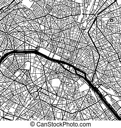 carte, paris france, vecteur