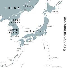 carte, pays, politique, péninsule, japon, coréen