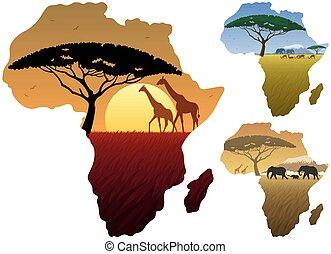 carte, paysages, afrique