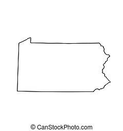carte pennsylvanie, etats-unis, état