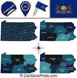 carte, pennsylvanie, régions