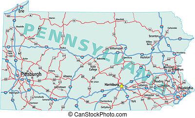 carte pennsylvanie, route, état autre