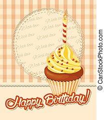 carte, petit gâteau, bougie, anniversaire, vendange