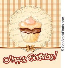 carte, petit gâteau, crème, serviette, anniversaire, vendange