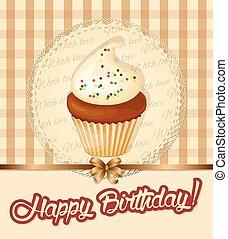 carte, petit gâteau, serviette, meringue, anniversaire, vendange