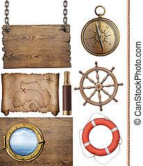 carte, pirates, trésor, isolé, illustration, objets,...