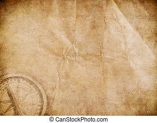carte, pirates, vieux, trésor