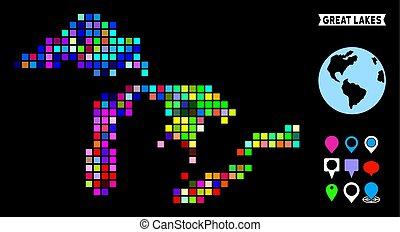 carte pixel, grands lacs, coloré