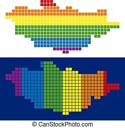 carte pixel, spectre, mongolie, pointillé