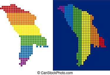carte pixel, spectre, pointillé, moldavie