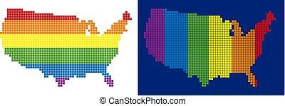 carte pixel, spectre, usa, pointillé