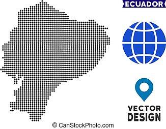 carte, pixelated, équateur