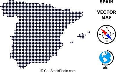 carte, pixelated, espagne