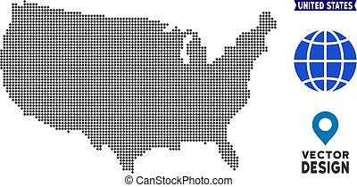 carte, pixelated, usa