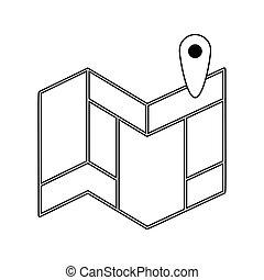 carte, plan, navigation, icône