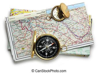 carte, plan, route, compas
