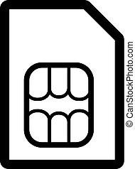 carte, plat, icon., symbole., sim