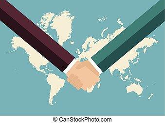 carte, poignée main, association, fond, mondiale