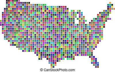 carte, point, usa, multicolore