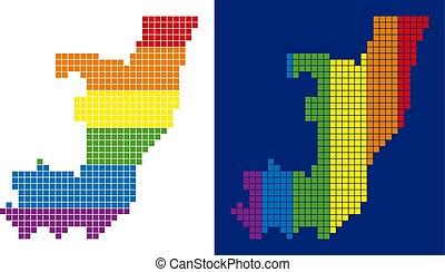carte, pointillé, spectre, congo, république, pixel